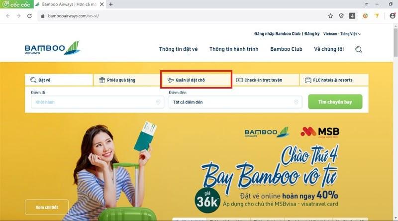 """Lựa chọn mục """"Quản lý đặt chỗ"""" trên trang chủ của Bamboo Airways"""