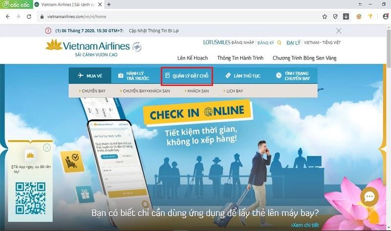 Truy cập website để tiến hành check-in